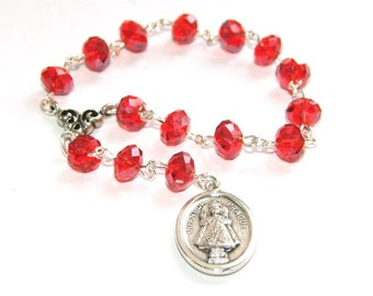 Infant of Prague Chaplet Rosary / Pocket Rosary with Catholic Medal
