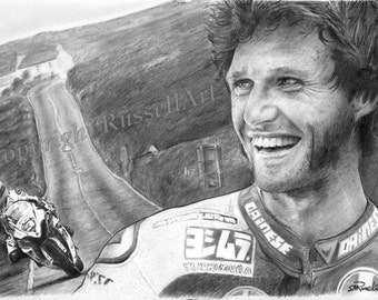 GUY MARTIN signed limited edition Art Print. MOTORSPORT a4 a3 or a2 tt. moto gp from original drawing from RussellArt