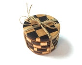 Maple and Walnut End-Grain Coasters - Handmade - Set of 5