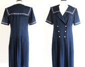 Vintage 70s Lanz Original Dress, Navy Blue Sailor Dress, Sound of Music Austrian Style Dress