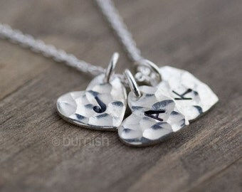 Wife Gift Personalized Necklace - Girlfriend Gift - Silver Initial Necklace - Personalized Womens Heart Jewelry Gift - Hand Stamped Jewelry