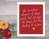 Inspirational Poster Art Print Destiny She Motivational Typography Red Mustard Yellow Calligraphy Autumn Fall Colours