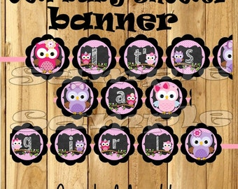 Its a girl banner Baby girl shower banner owl banner owl decorations decor owl theme 1st birthday banner Chalk banner baby shower banner