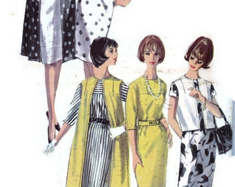 "1960's Sheath Wiggle Dress Coat Jacket Sleeveless Long Sleeve Mad Men Simplicity 5834 Bust 34"" Size 14 Vintage Womens Sewing Pattern"