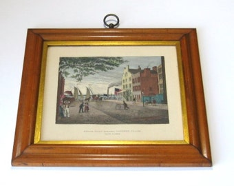 Vintage New York City Print: Framed Litho Print, NYC, Steam Boat Wharf, Battery Place, New York