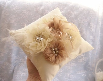 Ring Bearer Pillow, Ring Pillow Elegant and Classic Ivory or White  3D