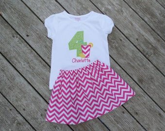 Girl's Toddlers Skirt and Shirt Outfit - Pink Lemonade Birthday Outfit