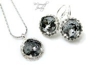 Dark Grey Wedding Jewelry Gray Bridal Earrings Bride Necklace Swarovski Crystal Silver Night Wedding Earrings Charcoal Gray Bridesmaid Gift