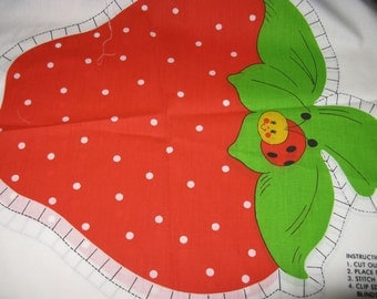 Vintage Strawberry Shortcake Pillow Panel