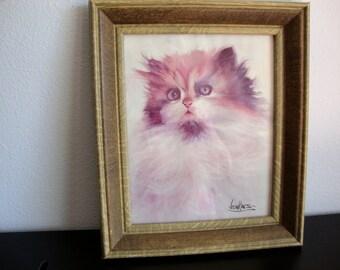 Vintage Jenkins Painting, Framed Cat Picture, Cat Print, Kitten Picture,  Wood Frame,  Gary Jenkins Artist