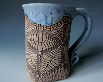 Handmade Ceramic Lace-Impressed 16oz. Mug