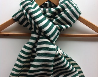 Scarves Wraps & stole -Green and white wool cotton blend stipe scarf- hand woven Men's women Green scarves-  Ethiopian Scarf- Green scarves