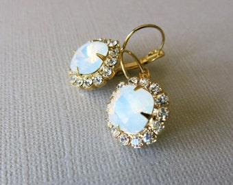 Opal Earrings Bridal Earrings Wedding Jewelry White Opal Earrings Opal Jewelry Vintage Earrings Bridesmaid Gift Moonstone