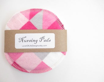 Cloth Nursing Pads--Pink Toned Geometric Design--Single Pair--Ready to Ship