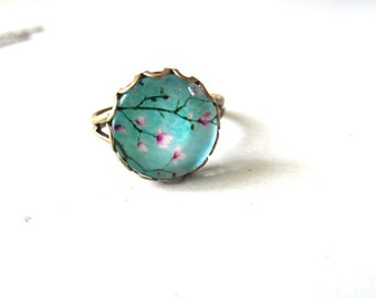 Mint Cherry Blossom flower ring  , Floral ring , gift for her , pastel  Flower ring , free shipping sale