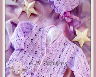 PDF Knitting Pattern - Baby/Children's Cardigan & Bonnet To fit 16-26 inch chests - Instant Download