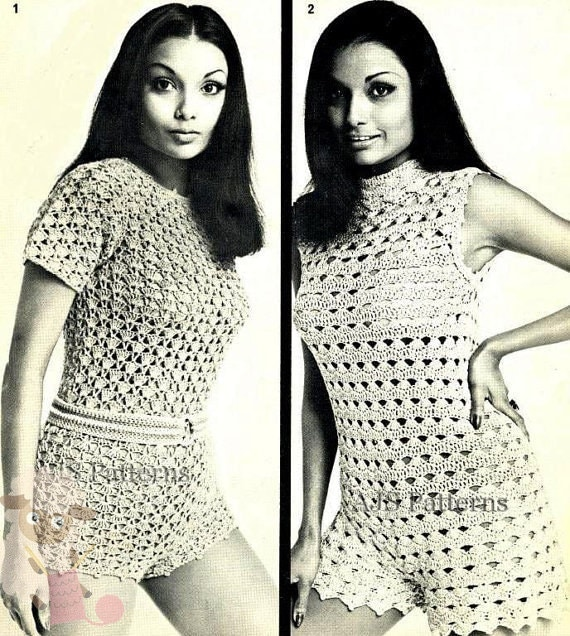 PDF Crochet Pattern for 2 1960's Retro Hot Pants/Shorts & Matching Top Sets - Instant Download