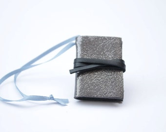 Silver Miniature Leather Notebook-  Christmas Ornament