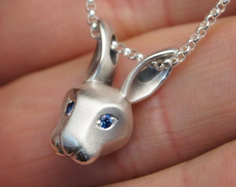 silver bunny pendant , pick your eye color