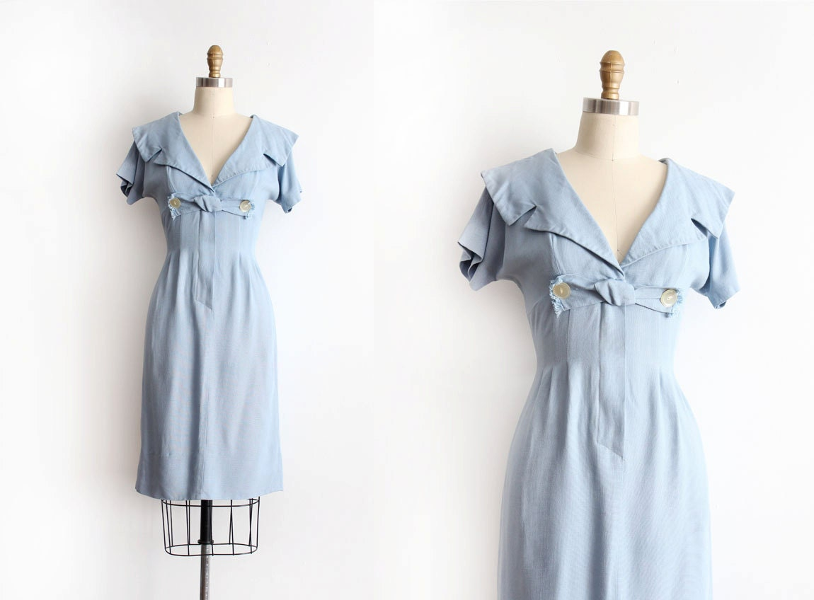 Vintage 1950s Dress 50s Blue Cotton Wiggle Dress With
