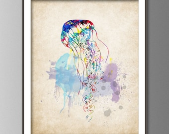 Watercolor Wall Art bathroom print jellyfish watercolor painting set of 3