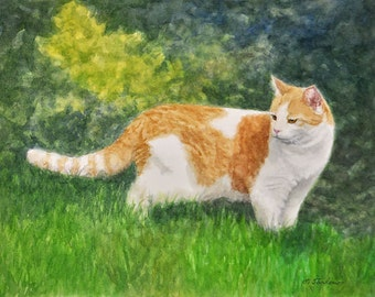 Orange Cat Art, Orange & White Cat Print, Cat Watercolor Art Print, Cat in Nature Painting by P. Tarlow
