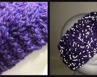 Reflective Headband Handmade Knitted Cable Purple
