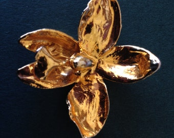 22 K Gold Plated Orchid Flower Brooch