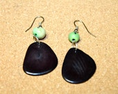 Sliced Tagua Nut Earrings, Boho chic