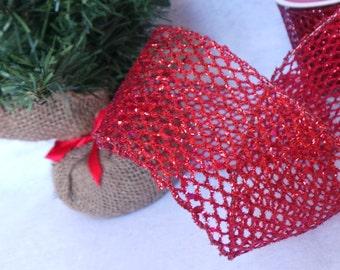 Red Glitter Net Holiday Ribbon, DIY Party Decor, 2.5 Inch,  1 YARD