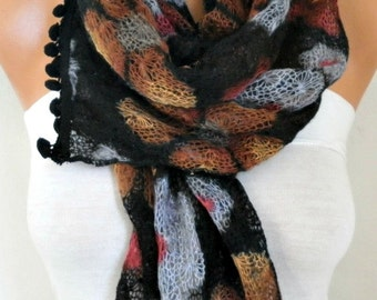 Black Floral Knitted Scarf Winter Accessories Cowl Scarf - Multicolor -Gift Ideas For Her Women's Fashion Accessories