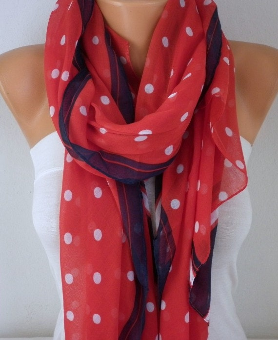 Red Polka Dot Cotton Scarf, Shawl, Fall Winter Scarf, Cowl Scarf, Gift Ideas For Her, Women's Fashion Accessories, Women Scarves