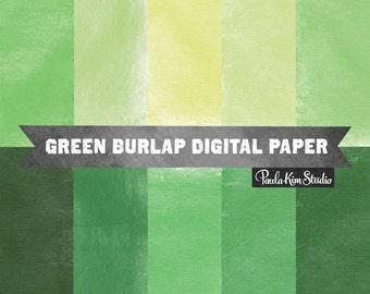 Green Digital Paper - Burlap Texture Background Digital Scrapbook Paper Instant Download