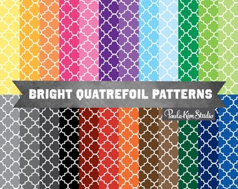 Quatrefoil Digital Paper, Moroccan Tile Pattern Digital Paper, Commercial Use Clipart Backgrounds, Digital