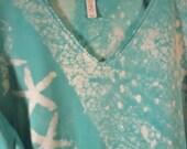 2XL Beach tee starfish turquoise waters 3/4 sleeve v neck mono print