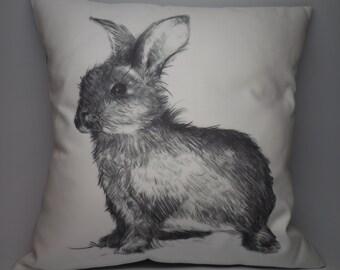 Rabbit Canvas Pillow, Farmhouse pillows, INSERT INCLUDED
