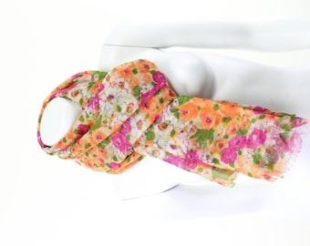 Pure Wool Gauze Scarf Springtime Floral Orange Blossom Print