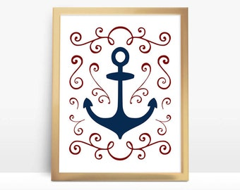 Nautical Anchor 8x10 Instant Download Printable Digital Art Print