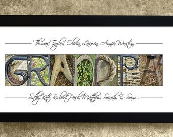 Grandpa Gift, Gift for Grandpa, Grandparents Gift, Personalized Gift, Alphabet Photography, Gifts Under 30, Wall Art, Alphabet Art Letters