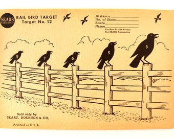 Vintage Sears Rail Bird Target No. 12 Paper Shooting Target, 9 x 6 inches (c.1940s) - Collectible, Cabin Home Decor, Paper Projects