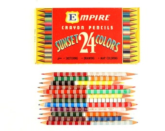 Vintage Dual Kolor Double-Sided Colored Pencils in Original Box of 24 by Empire (c.1950s) N1 - Collectible, Art Supply, Gift Embellishment