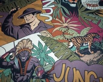Jungle Jim Fabric Captain Tigers Natives Rare Htf Fat Quarter New BTFQ