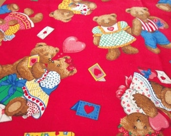 Valentine I Love You Fabric Bears Red Hearts Letters Fat Quarter New BTFQ