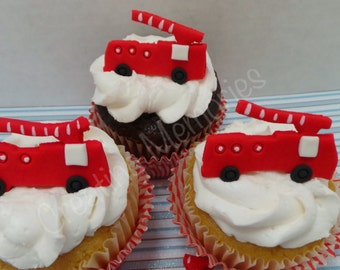 15 Edible RED Fire Trucks Cupcake or Decorations, made with vanilla fondant you choose the colors pink, blue, yellow or mix and match
