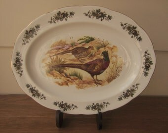 Large vintage English Sheltonian fine bone china platter.  For serving or decor.