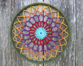 Crochet Mandala - Wall art - Psychedelic Sunflower
