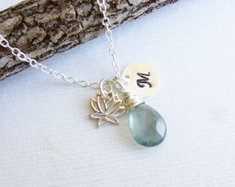 Sterling Silver Lotus Flower Birthstone Initial Necklace -- Choose your Stone and Initial --  Bridesmaids -- Personalized