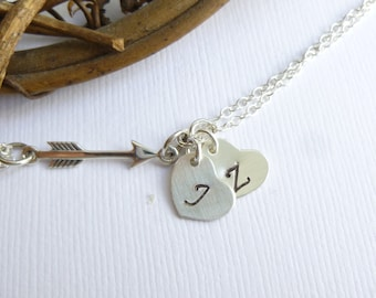Sterling Silver Arrow Bracelet with Initial Hearts -- Personalized -- Valentines Day -- Archery