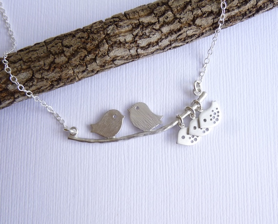 Our Baby Birds -- Mod Family Tree with Sterling Silver Chain -- Choose How Many Birds
