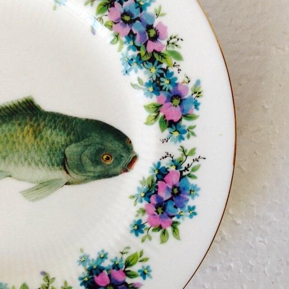 Green koi carp fish vintage pink floral china saucer plate for Green koi fish